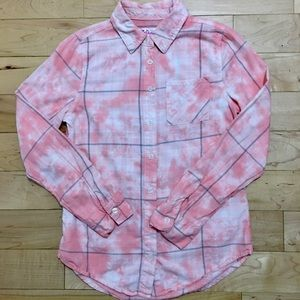 Justice tie dyed pink plaid button down shirt.